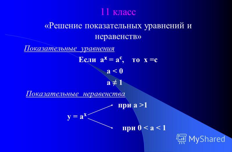 11 класс «Решение показательных уравнений и неравенств» Показательные уравнения Если а х = а с, то х =с а < 0 а 1 Показательные неравенства при а >1 у = а х при 0 < а < 1