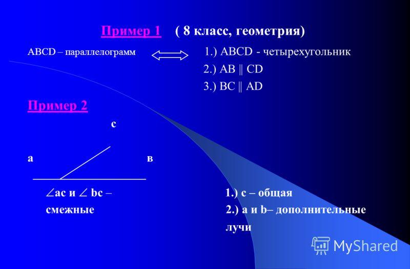 Пример 1 ( 8 класс, геометрия) АВСD – параллелограмм 1.) АВСD - четырехугольник 2.) АВ || CD 3.) ВС || AD Пример 2 с а в ас и bс – 1.) с – общая смежные 2.) а и b– дополнительные лучи