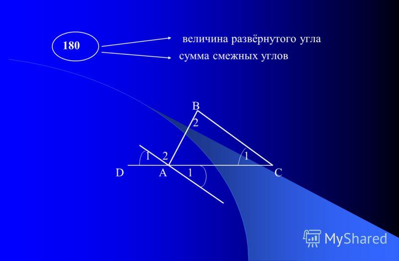 величина развёрнутого угла сумма смежных углов В 2 1 2 1 D A 1 C 180
