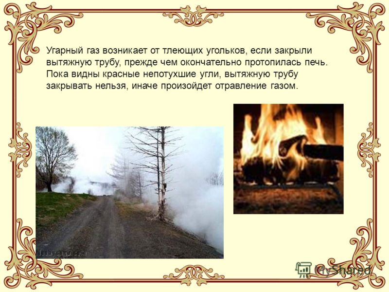 Угарный газ возникает от тлеющих угольков, если закрыли вытяжную трубу, прежде чем окончательно протопилась печь. Пока видны красные непотухшие угли, вытяжную трубу закрывать нельзя, иначе произойдет отравление газом.