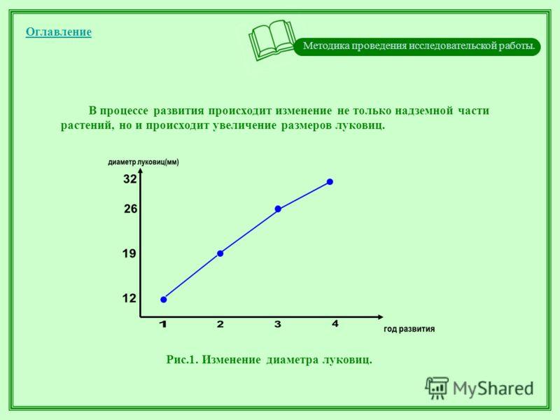 Методика проведения исследовательской работы. Оглавление В процессе развития происходит изменение не только надземной части растений, но и происходит увеличение размеров луковиц. Рис.1. Изменение диаметра луковиц.