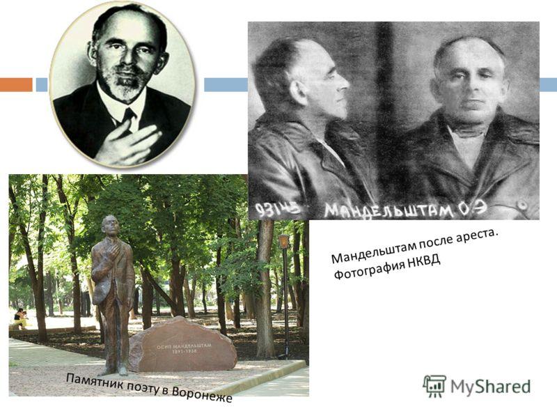 Памятник поэту в Воронеже Мандельштам после ареста. Фотография НКВД