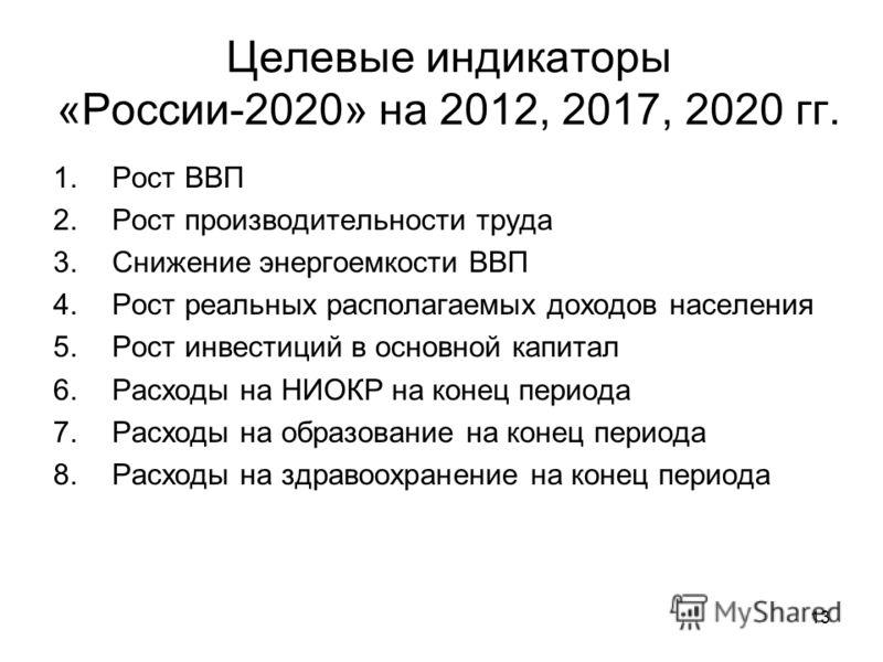 13 Целевые индикаторы «России-2020» на 2012, 2017, 2020 гг. 1.Рост ВВП 2.Рост производительности труда 3.Снижение энергоемкости ВВП 4.Рост реальных располагаемых доходов населения 5.Рост инвестиций в основной капитал 6.Расходы на НИОКР на конец перио