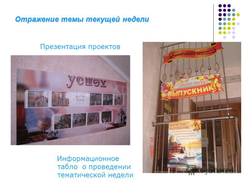 Отражение темы текущей недели Презентация проектов Информационное табло о проведении тематической недели