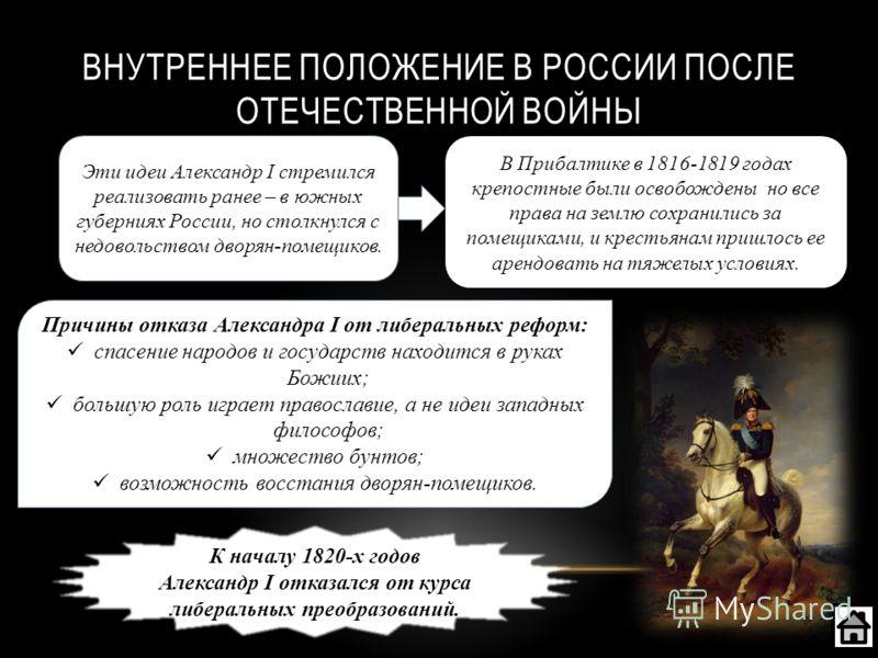 ВНУТРЕННЕЕ ПОЛОЖЕНИЕ В РОССИИ ПОСЛЕ ОТЕЧЕСТВЕННОЙ ВОЙНЫ Эти идеи Александр I стремился реализовать ранее – в южных губерниях России, но столкнулся с недовольством дворян-помещиков. В Прибалтике в 1816-1819 годах крепостные были освобождены но все пра