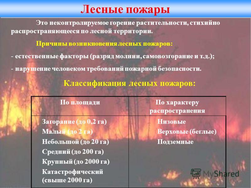 Лесные пожары Это неконтролируемое горение растительности, стихийно распространяющееся по лесной территории. Причины возникновения лесных пожаров: - естественные факторы (разряд молнии, самовозгорание и т.д.); - нарушение человеком требований пожарно