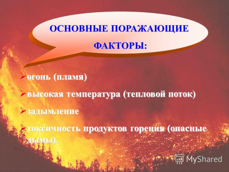 ОСНОВНЫЕ ПОРАЖАЮЩИЕ ФАКТОРЫ: ФАКТОРЫ: огонь (пламя) огонь (пламя) высокая температура (тепловой поток) высокая температура (тепловой поток) задымление задымление токсичность продуктов горения (опасные дымы). токсичность продуктов горения (опасные дым