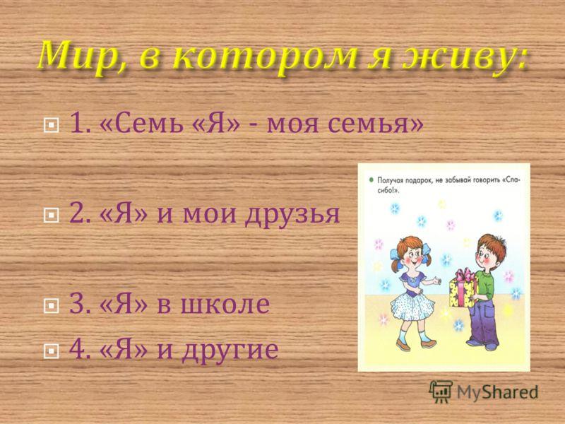 1. « Семь « Я » - моя семья » 2. « Я » и мои друзья 3. « Я » в школе 4. « Я » и другие
