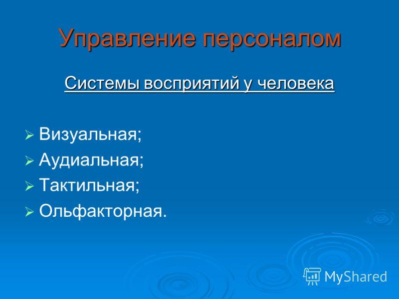 Управление персоналом Системы восприятий у человека Визуальная; Аудиальная; Тактильная; Ольфакторная.