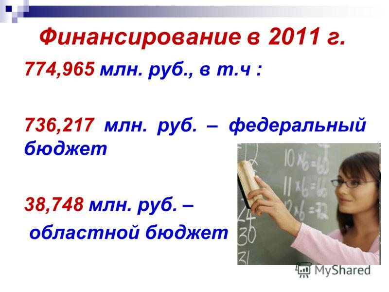 Финансирование в 2011 г. 774,965 млн. руб., в т.ч : 736,217 млн. руб. – федеральный бюджет 38,748 млн. руб. – областной бюджет