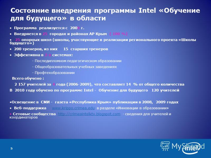 5 Состояние внедрения программы Intel «Обучение для будущего» в области Программа реализуется с 2006 г. Внедряется в 25 городах и районах АР Крым ( 100 %) 25 опорных школ (школы, участвующие в реализации регионального проекта «Школы будущего») 200 тр