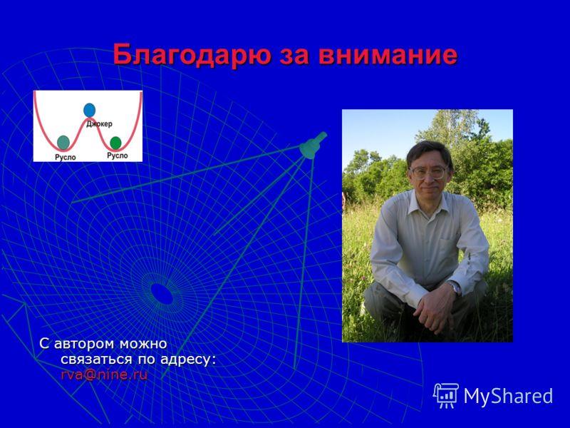 Благодарю за внимание С автором можно связаться по адресу: rva@nine.ru