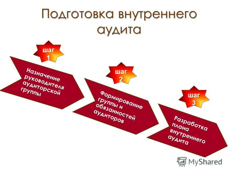 Подготовка внутреннего аудита Назначение руководителя аудиторской группы Формирование группы и обязанностей аудиторов Разработка плана внутреннего аудита шаг 3 шаг 2 шаг 1