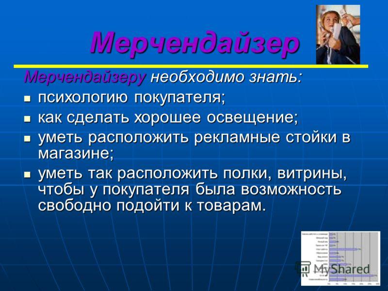 Мерчендайзер Мерчендайзеру необходимо знать: психологию покупателя; психологию покупателя; как сделать хорошее освещение; как сделать хорошее освещение; уметь расположить рекламные стойки в магазине; уметь расположить рекламные стойки в магазине; уме