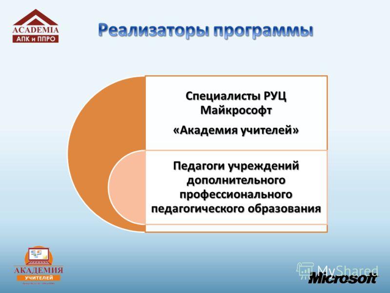 Специалисты РУЦ Майкрософт «Академия учителей» Педагоги учреждений дополнительного профессионального педагогического образования