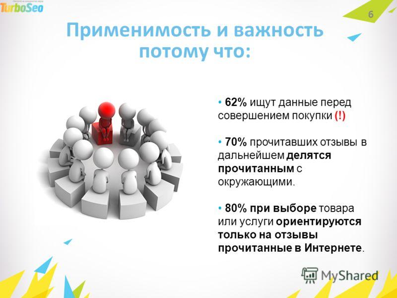 Применимость и важность потому что: 6 62% ищут данные перед совершением покупки (!) 70% прочитавших отзывы в дальнейшем делятся прочитанным с окружающими. 80% при выборе товара или услуги ориентируются только на отзывы прочитанные в Интернете.