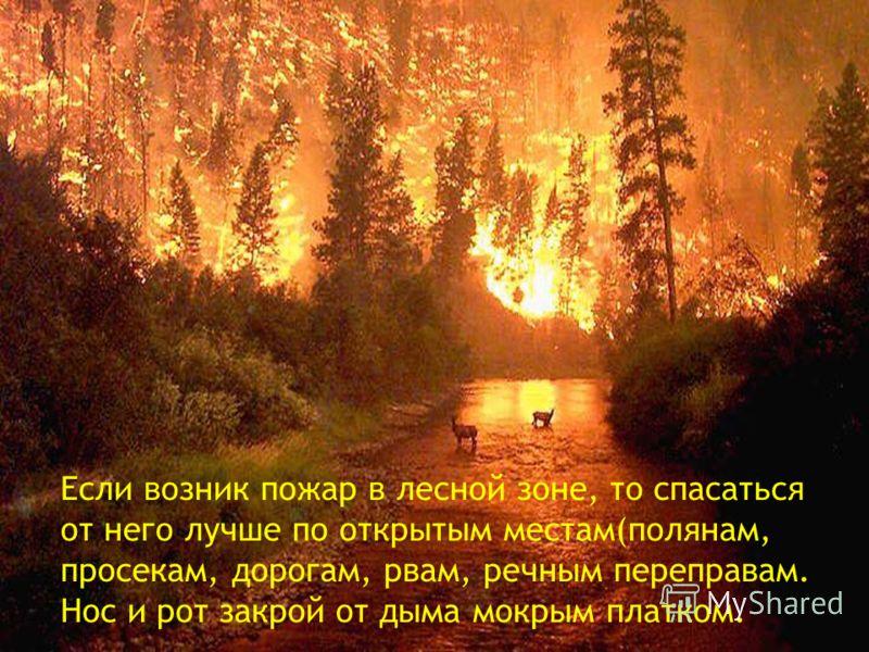 Если возник пожар в лесной зоне, то спасаться от него лучше по открытым местам(полянам, просекам, дорогам, рвам, речным переправам. Нос и рот закрой от дыма мокрым платком.