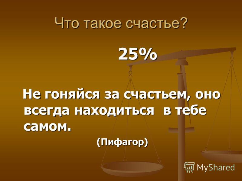 Что такое счастье? 25% 25% Не гоняйся за счастьем, оно всегда находиться в тебе самом. Не гоняйся за счастьем, оно всегда находиться в тебе самом. (Пифагор) (Пифагор)