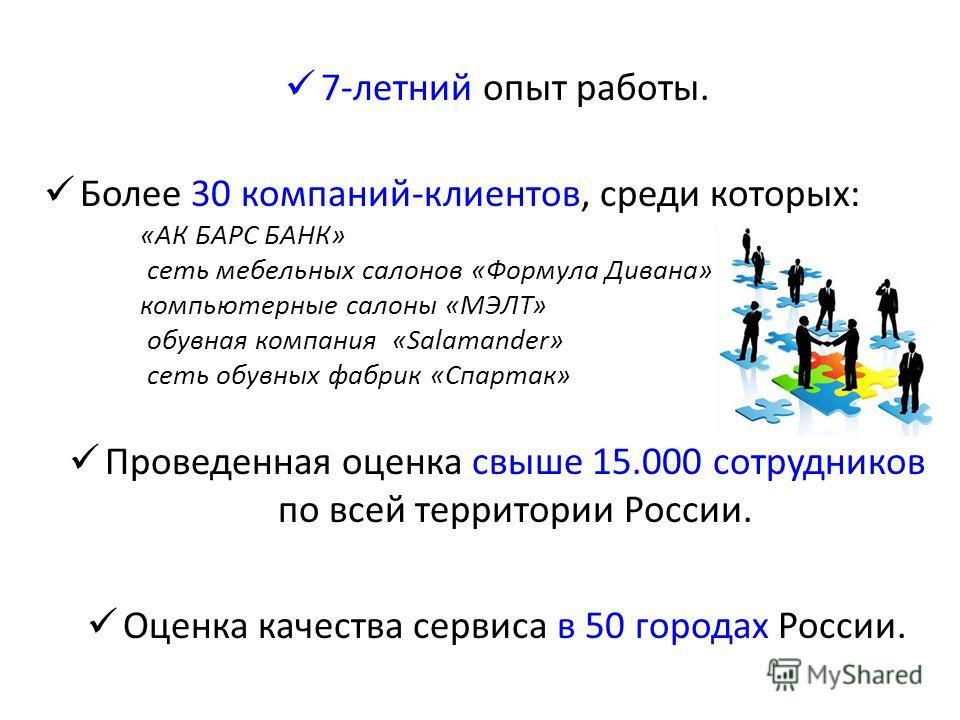 7-летний опыт работы. Более 30 компаний-клиентов, среди которых: «АК БАРС БАНК» сеть мебельных салонов «Формула Дивана» компьютерные салоны «МЭЛТ» обувная компания «Salamander» сеть обувных фабрик «Спартак» Проведенная оценка свыше 15.000 сотрудников
