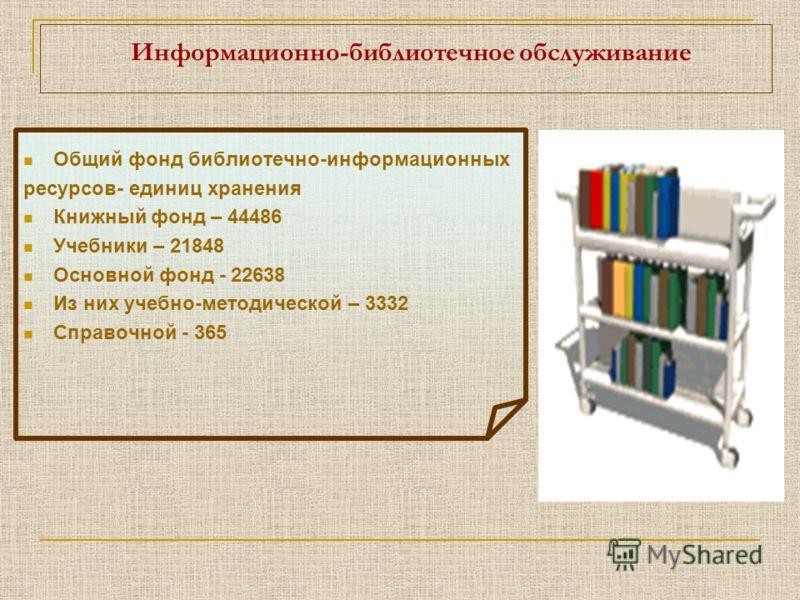 Информационно-библиотечное обслуживание Общий фонд библиотечно-информационных ресурсов- единиц хранения Книжный фонд – 44486 Учебники – 21848 Основной фонд - 22638 Из них учебно-методической – 3332 Справочной - 365