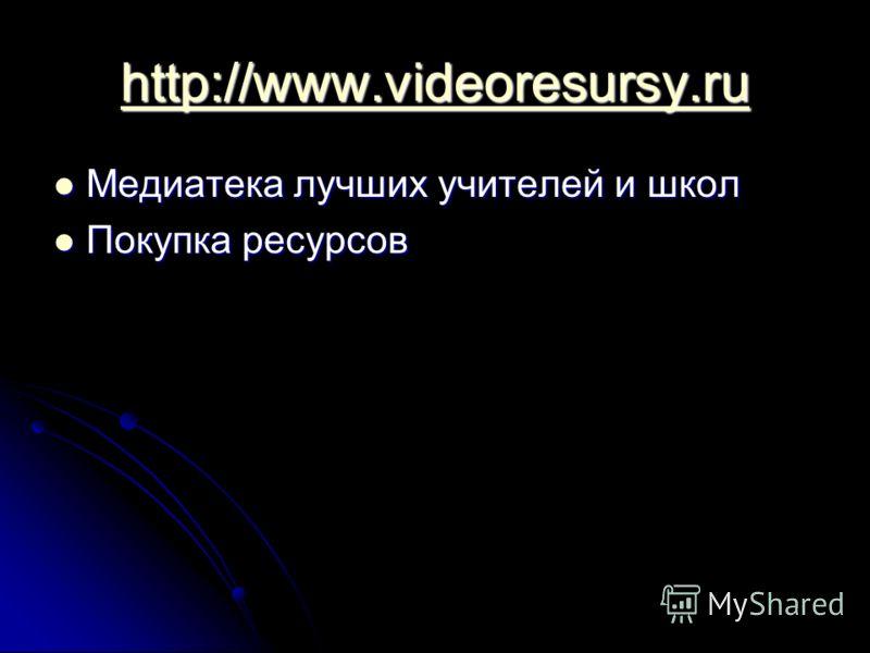 http://www.videoresursy.ru Медиатека лучших учителей и школ Медиатека лучших учителей и школ Покупка ресурсов Покупка ресурсов