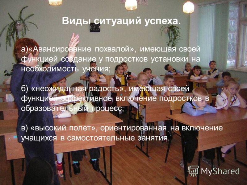 а)«Авансирование похвалой», имеющая своей функцией создание у подростков установки на необходимость учения; б) «неожиданная радость», имеющая своей функцией эффективное включение подростков в образовательный процесс; в) «высокий полет», ориентированн