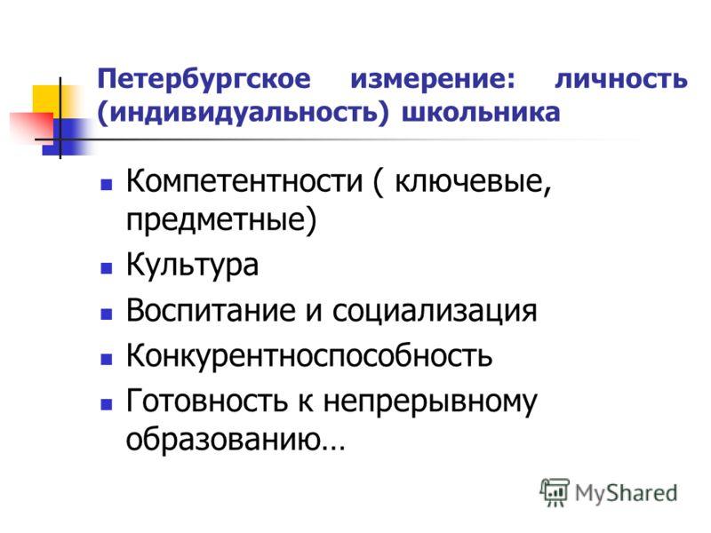Петербургское измерение: личность (индивидуальность) школьника Компетентности ( ключевые, предметные) Культура Воспитание и социализация Конкурентноспособность Готовность к непрерывному образованию…