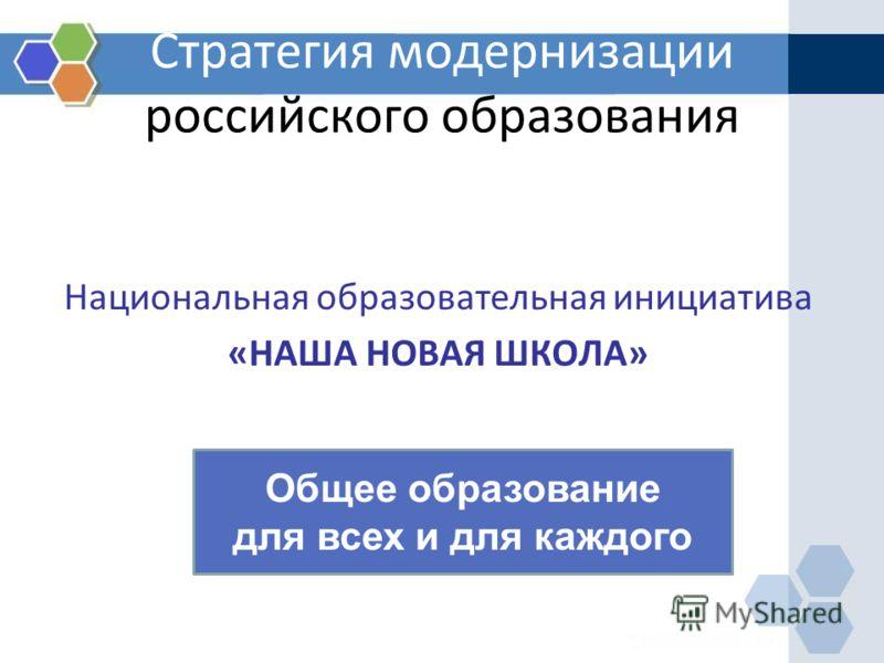 Стратегия модернизации российского образования Национальная образовательная инициатива «НАША НОВАЯ ШКОЛА» Общее образование для всех и для каждого