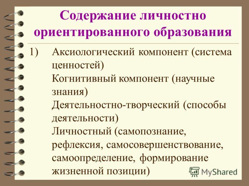 Содержание личностно ориентированного образования 1)Аксиологический компонент (система ценностей) Когнитивный компонент (научные знания) Деятельностно-творческий (способы деятельности) Личностный (самопознание, рефлексия, самосовершенствование, самоо