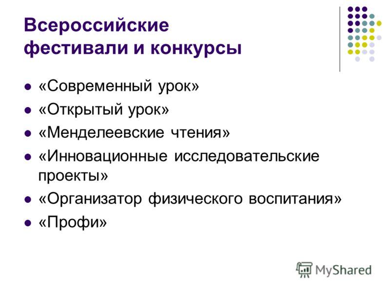 Всероссийские фестивали и конкурсы «Современный урок» «Открытый урок» «Менделеевские чтения» «Инновационные исследовательские проекты» «Организатор физического воспитания» «Профи»