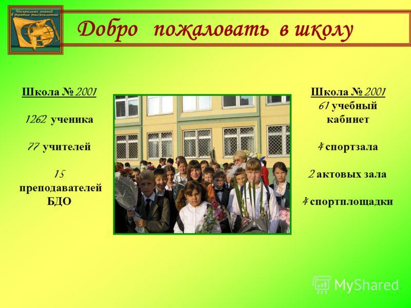 Добро пожаловать в школу Школа 2001 1262 ученика 77 учителей 15 преподавателей БДО Школа 2001 61 учебный кабинет 4 спортзала 2 актовых зала 4 спортплощадки