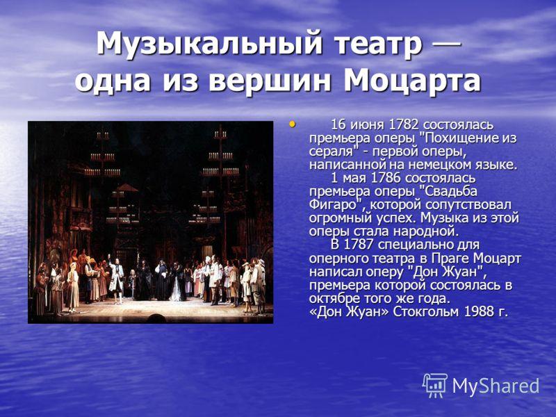 Музыкальный театр одна из вершин Моцарта 16 июня 1782 состоялась премьера оперы
