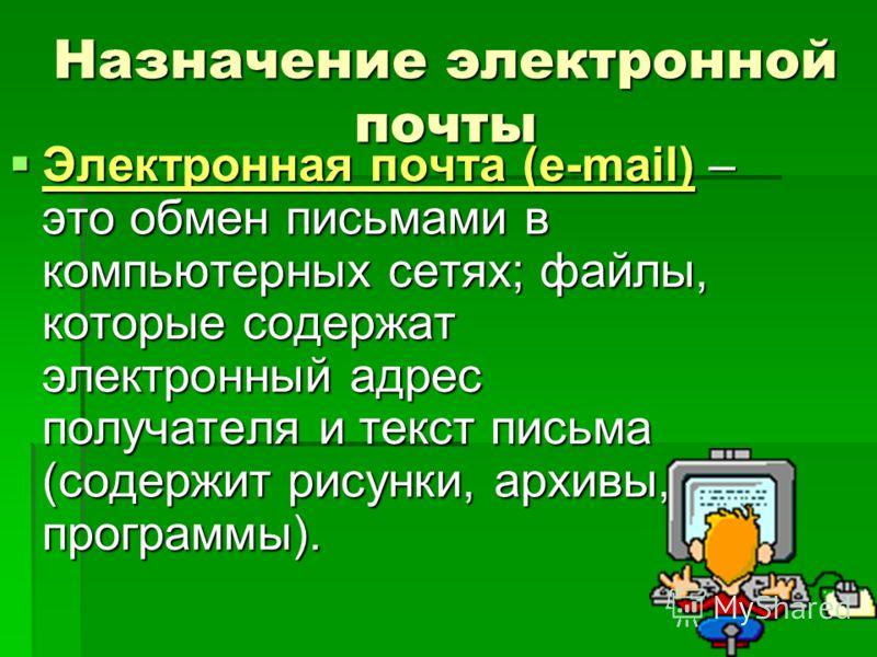 Назначение электронной почты Электронная почта (e-mail) – это обмен письмами в компьютерных сетях; файлы, которые содержат электронный адрес получателя и текст письма (содержит рисунки, архивы, программы). Электронная почта (e-mail) – это обмен письм