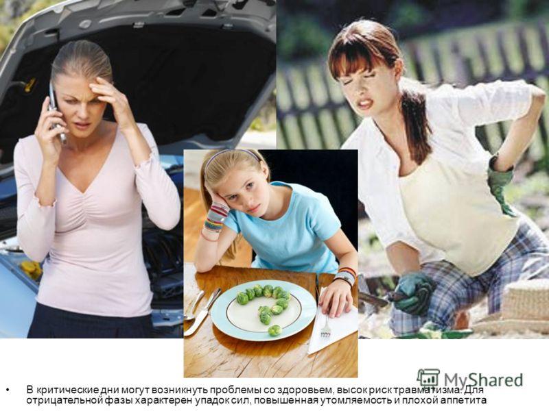 В критические дни могут возникнуть проблемы со здоровьем, высок риск травматизма. Для отрицательной фазы характерен упадок сил, повышенная утомляемость и плохой аппетита