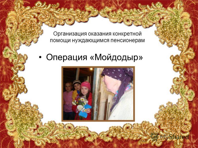 Организация оказания конкретной помощи нуждающимся пенсионерам Операция «Мойдодыр»