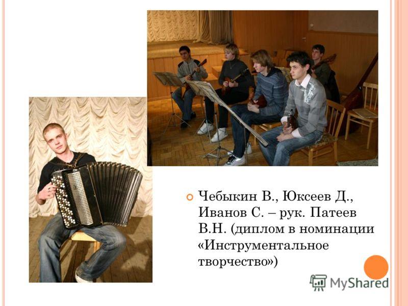 Чебыкин В., Юксеев Д., Иванов С. – рук. Патеев В.Н. (диплом в номинации «Инструментальное творчество»)
