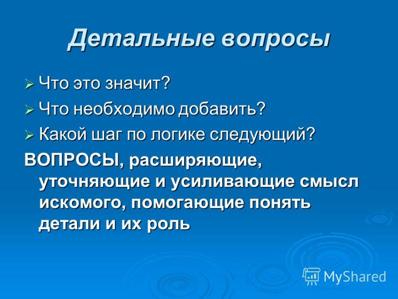 Детальные вопросы Что это значит? Что это значит? Что необходимо добавить? Что необходимо добавить? Какой шаг по логике следующий? Какой шаг по логике следующий? ВОПРОСЫ, расширяющие, уточняющие и усиливающие смысл искомого, помогающие понять детали
