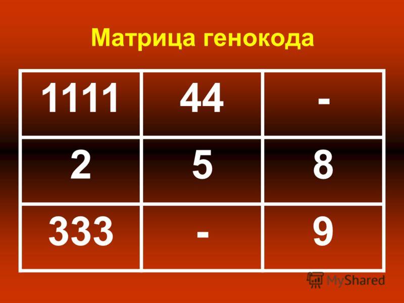 Матрица генокода 111144- 258 333-9