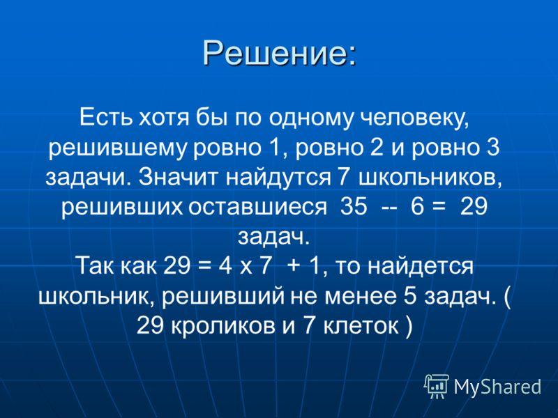 Решение: Есть хотя бы по одному человеку, решившему ровно 1, ровно 2 и ровно 3 задачи. Значит найдутся 7 школьников, решивших оставшиеся 35 -- 6 = 29 задач. Так как 29 = 4 х 7 + 1, то найдется школьник, решивший не менее 5 задач. ( 29 кроликов и 7 кл
