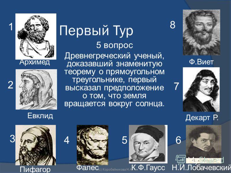 Первый Тур 5 вопрос Древнегреческий ученый, доказавший знаменитую теорему о прямоугольном треугольнике, первый высказал предположение о том, что земля вращается вокруг солнца. 1 Архимед 2 Евклид 3 Пифагор 8 Фалес 45 К.Ф.Гаусс 6 Н.И.Лобачевский 7 Дека