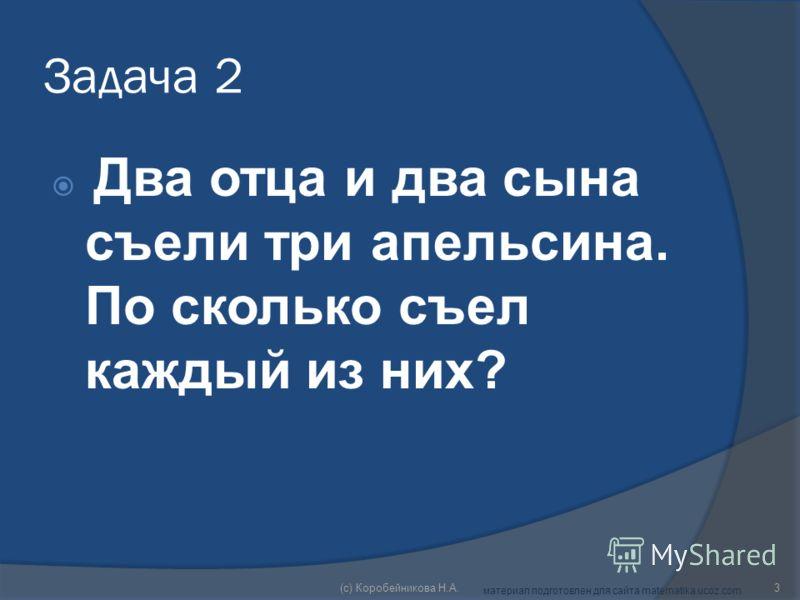 Задача 2 Два отца и два сына съели три апельсина. По сколько съел каждый из них? 3(c) Коробейникова Н.А. материал подготовлен для сайта matematika.ucoz.com