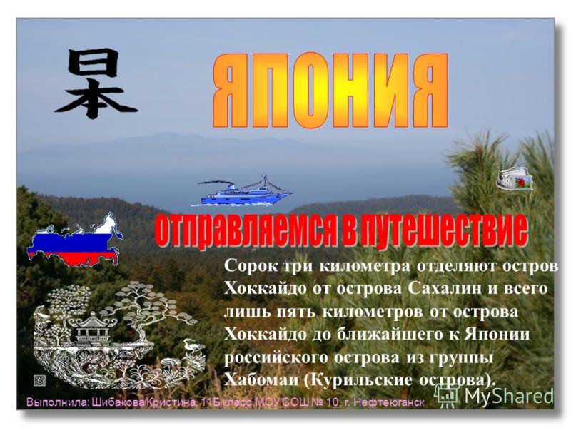 Сорок три километра отделяют остров Хоккайдо от острова Сахалин и всего лишь пять километров от острова Хоккайдо до ближайшего к Японии российского острова из группы Хабомаи (Курильские острова). Выполнила: Шибакова Кристина, 11Б класс,МОУ СОШ 10, г.