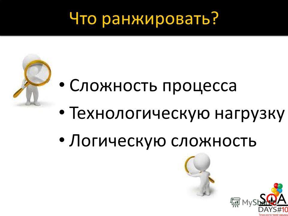 Сложность процесса Технологическую нагрузку Логическую сложность Что ранжировать?