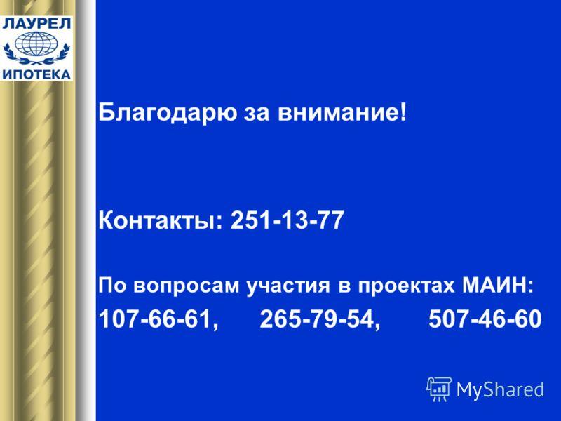 Благодарю за внимание! Контакты: 251-13-77 По вопросам участия в проектах МАИН: 107-66-61, 265-79-54, 507-46-60