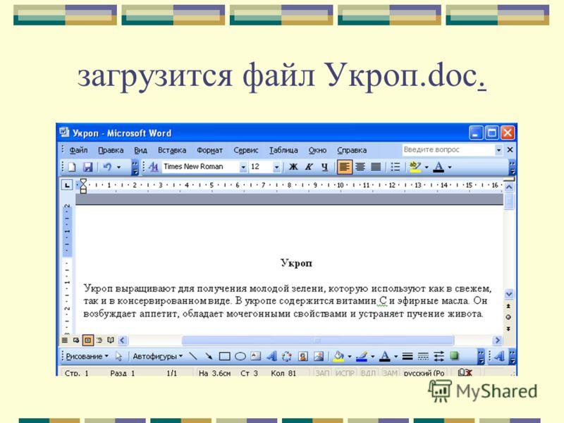 загрузится файл Укроп.doc.