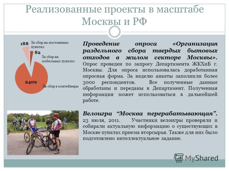 Проведение опроса «Организация раздельного сбора твердых бытовых отходов в жилом секторе Москвы». Опрос проведен по запросу Департамента ЖКХиБ г. Москвы. Для опроса использовалась доработанная опросная форма. За неделю анкеты заполнили более 3000 рес