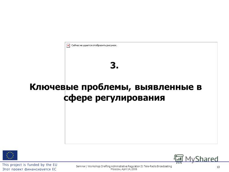 13 Seminar / Workshop: Drafting Administrative Regulation II: Tele-Radio Broadcasting Moscow, April 14, 2006 13 3. Ключевые проблемы, выявленные в сфере регулирования