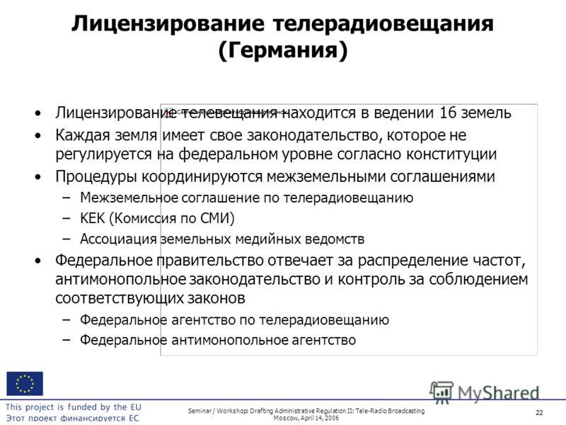 22 Seminar / Workshop: Drafting Administrative Regulation II: Tele-Radio Broadcasting Moscow, April 14, 2006 22 Лицензирование телерадиовещания (Германия) Лицензирование телевещания находится в ведении 16 земель Каждая земля имеет свое законодательст