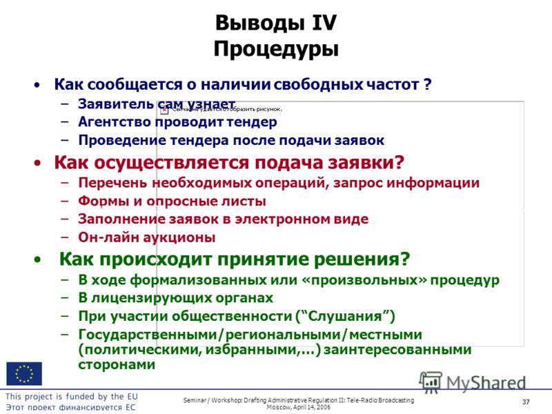 37 Seminar / Workshop: Drafting Administrative Regulation II: Tele-Radio Broadcasting Moscow, April 14, 2006 37 Выводы IV Процедуры Как сообщается о наличии свободных частот ? –Заявитель сам узнает –Агентство проводит тендер –Проведение тендера после