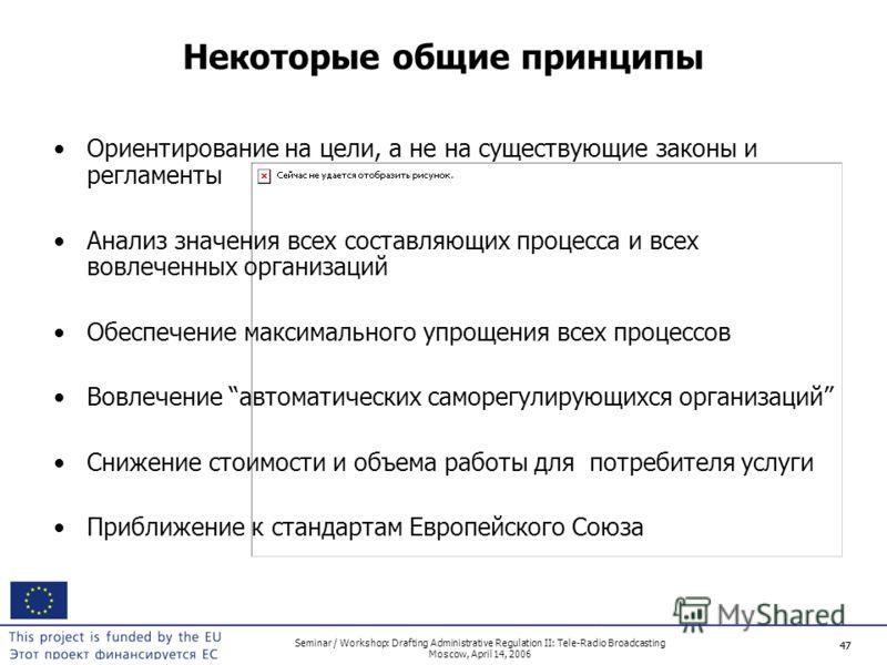 47 Seminar / Workshop: Drafting Administrative Regulation II: Tele-Radio Broadcasting Moscow, April 14, 2006 47 Некоторые общие принципы Ориентирование на цели, а не на существующие законы и регламенты Анализ значения всех составляющих процесса и все